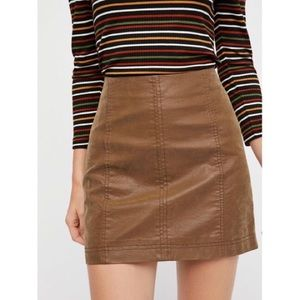 Free people brown leather skirt